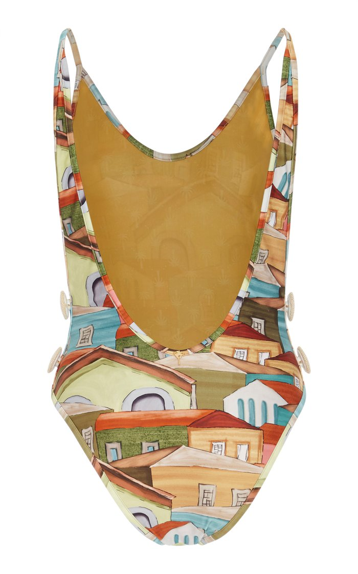 Printed Button-Detailed Swimsuit