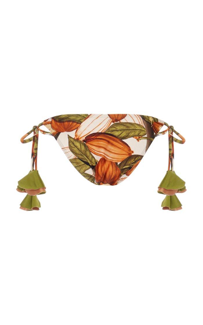 Printed Tasseled-String Bikini Bottom