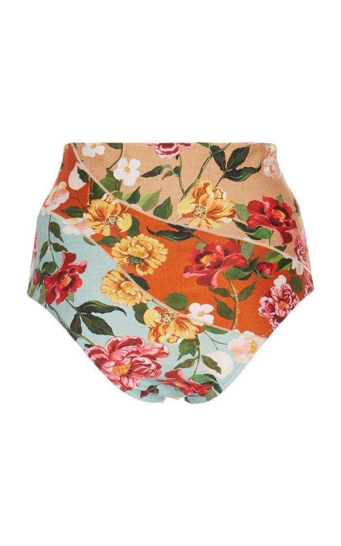 Floral-Print High-Rise Bikini Bottom