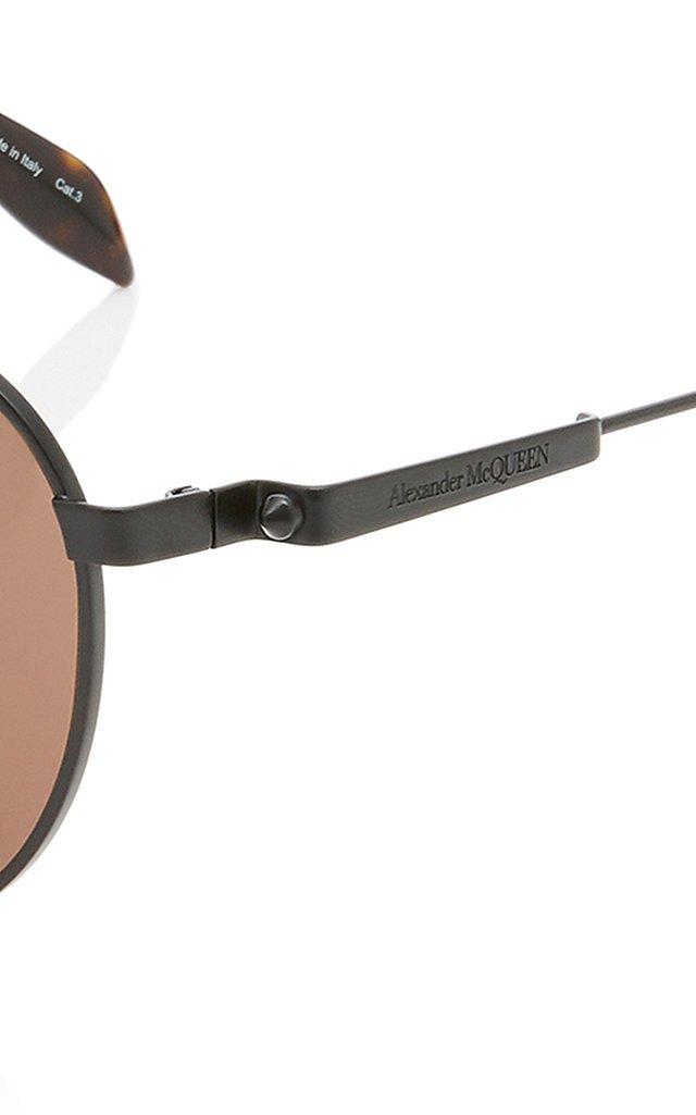 Black Round-Frame Metal Sunglasses