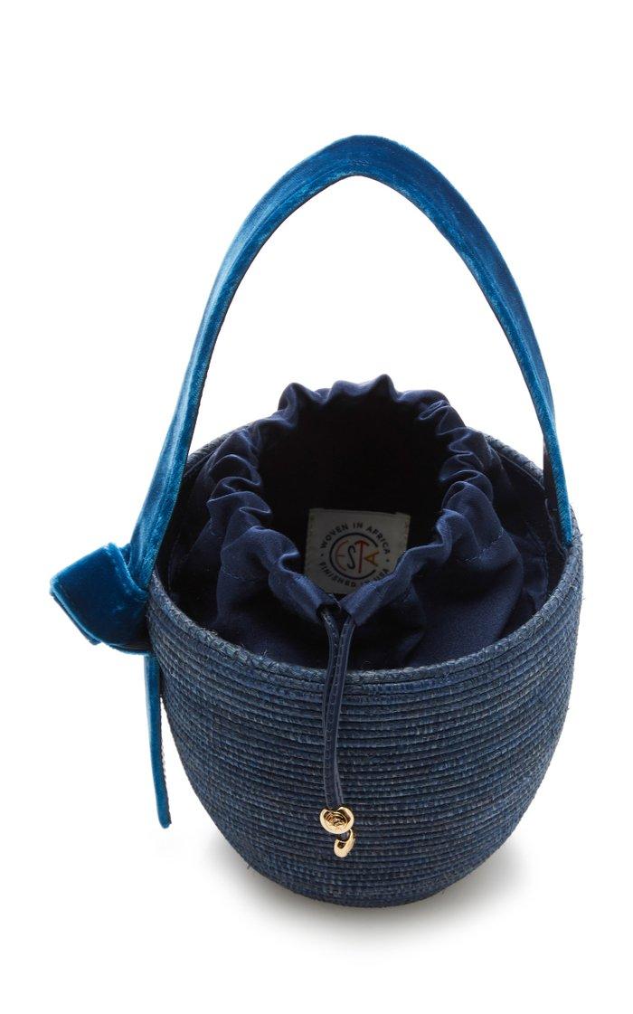 Lunchpail Velvet-Trimmed Sisal Bucket Bag