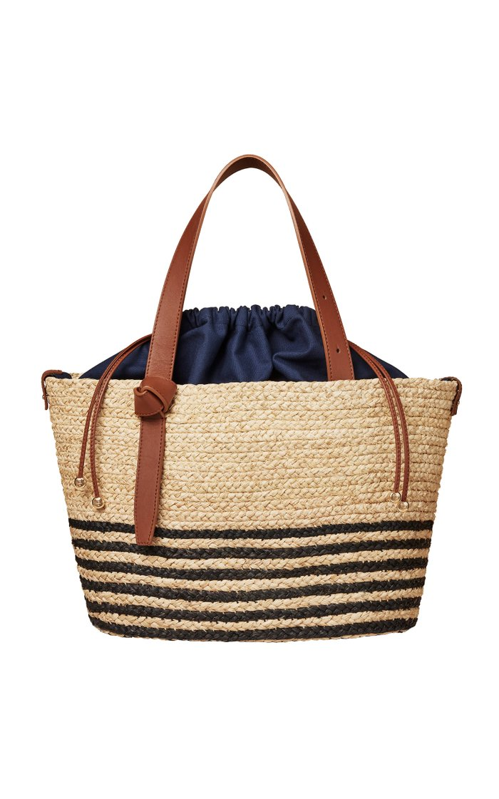 Striped Leather-Trimmed Sisal Tote