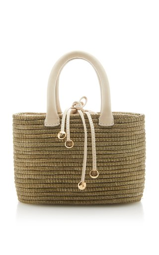 Mini Leather-Trimmed Sisal Tote
