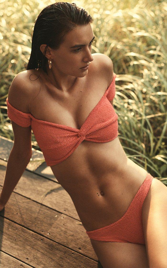 Brigette Seersucker Off-The-Shoulder Bikini