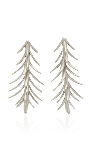 Palm White Gold Earrings