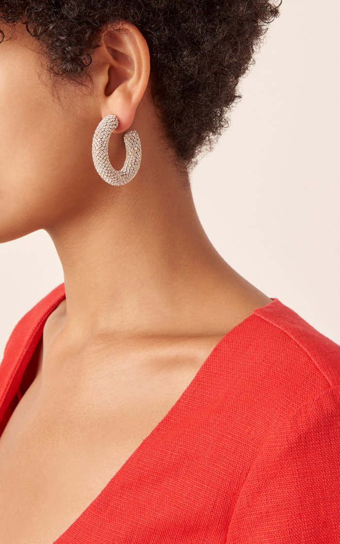 Crystal-Embellished Hoop Earrings