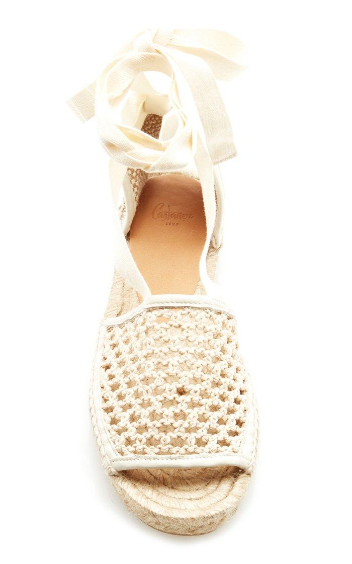 Lace-Up Crochet Espadrille Sandals