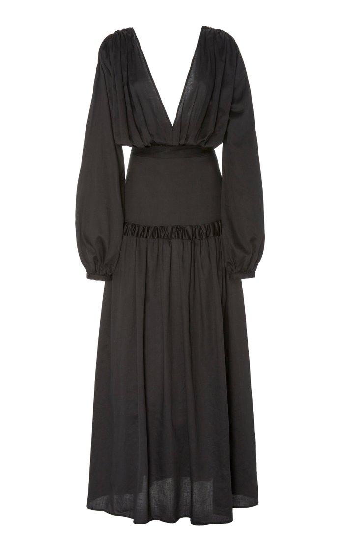 Gathered Cotton-Voile Maxi Dress