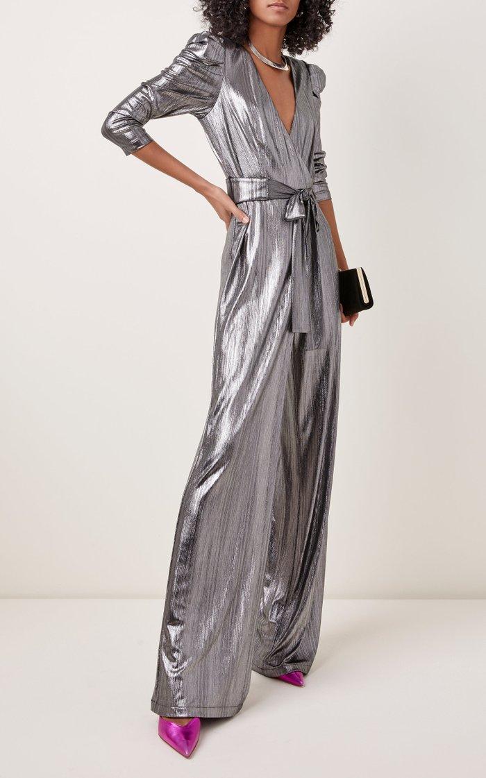 Monroe Belted Metallic Lamé Jumpsuit