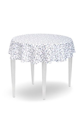 Round Floral-Print Linen Tablecloth