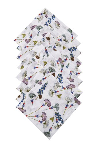 Set-Of-Eight Floral Linen Napkins
