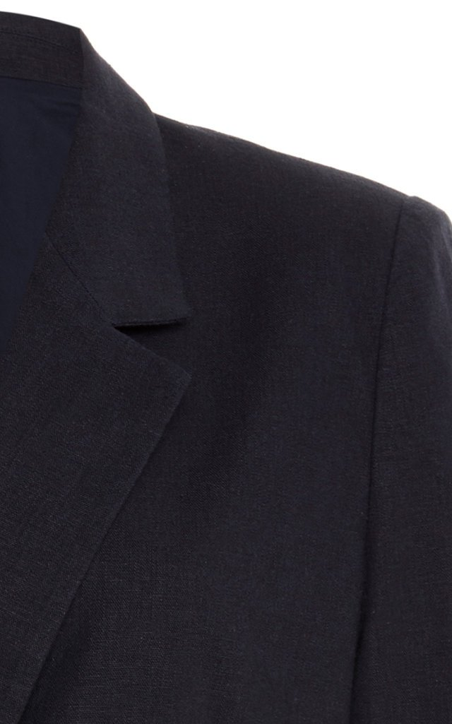 Koa Double-Breasted Linen-Blend Blazer