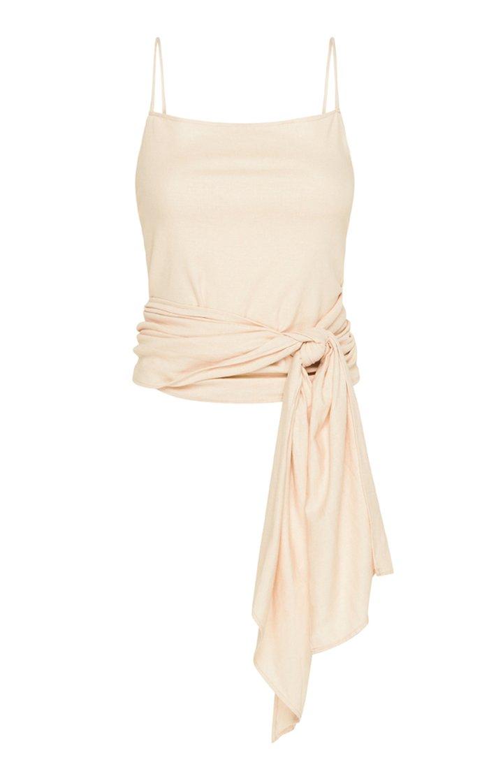 Iva Wrap-Effect Linen-Blend Top