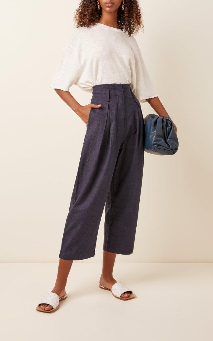 Cavolo Cropped Linen-Blend Wide-Leg Pants