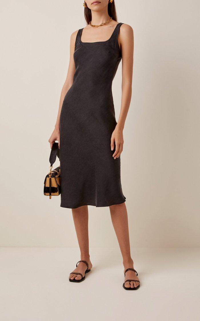 Selma Silk-Satin Midi Dress