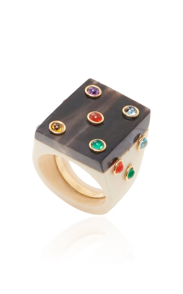 Sculpted Bone and Gemstone Square Ring
