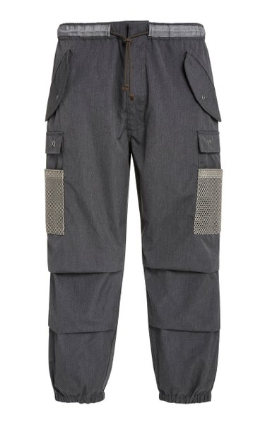 Snow Mesh-Paneled Canvas Tapered Pants