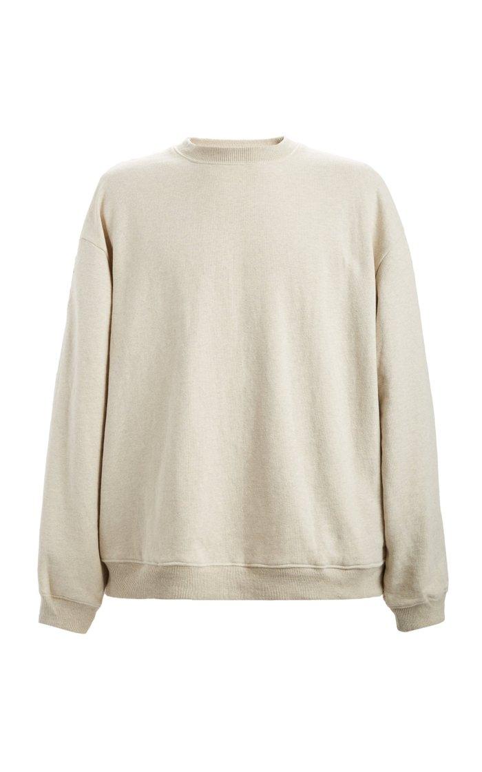 Fleecy Knit x American Quilt Two-Tone Cotton Sweatshirt