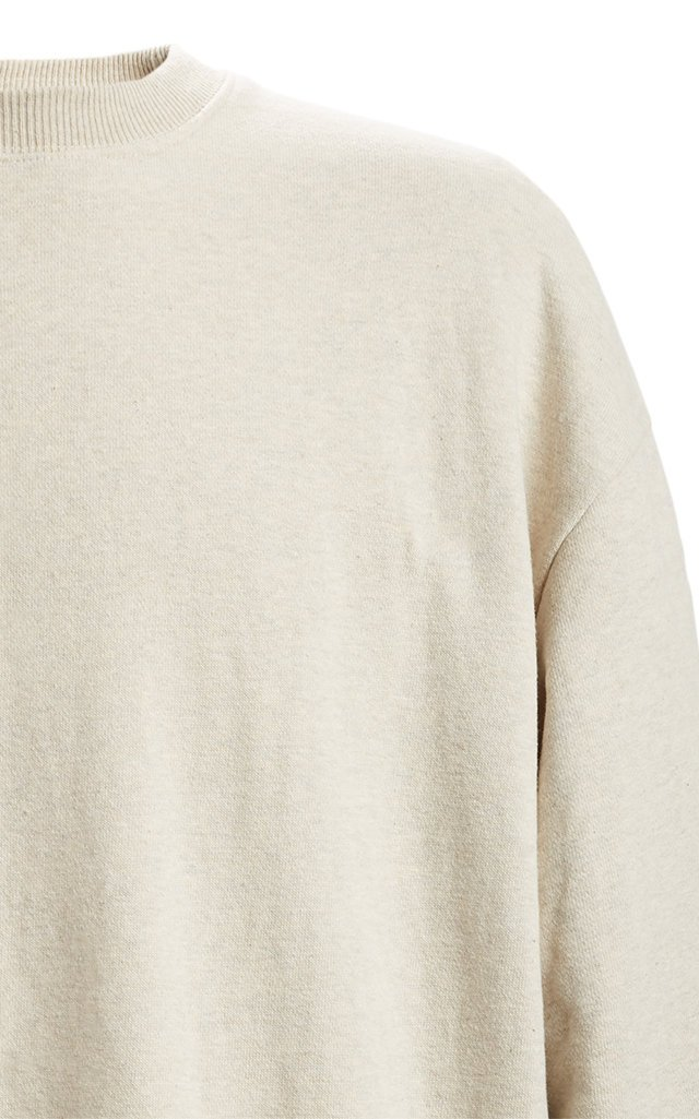 Fleecy Knit x American Quilt Two-Tone Cotton Sweatshirt