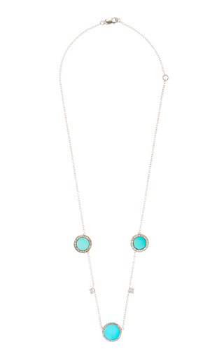 Turquoise Old Cut Diamond Disk Necklace