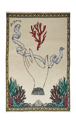 Branching Fire Coral Cashmere Throw