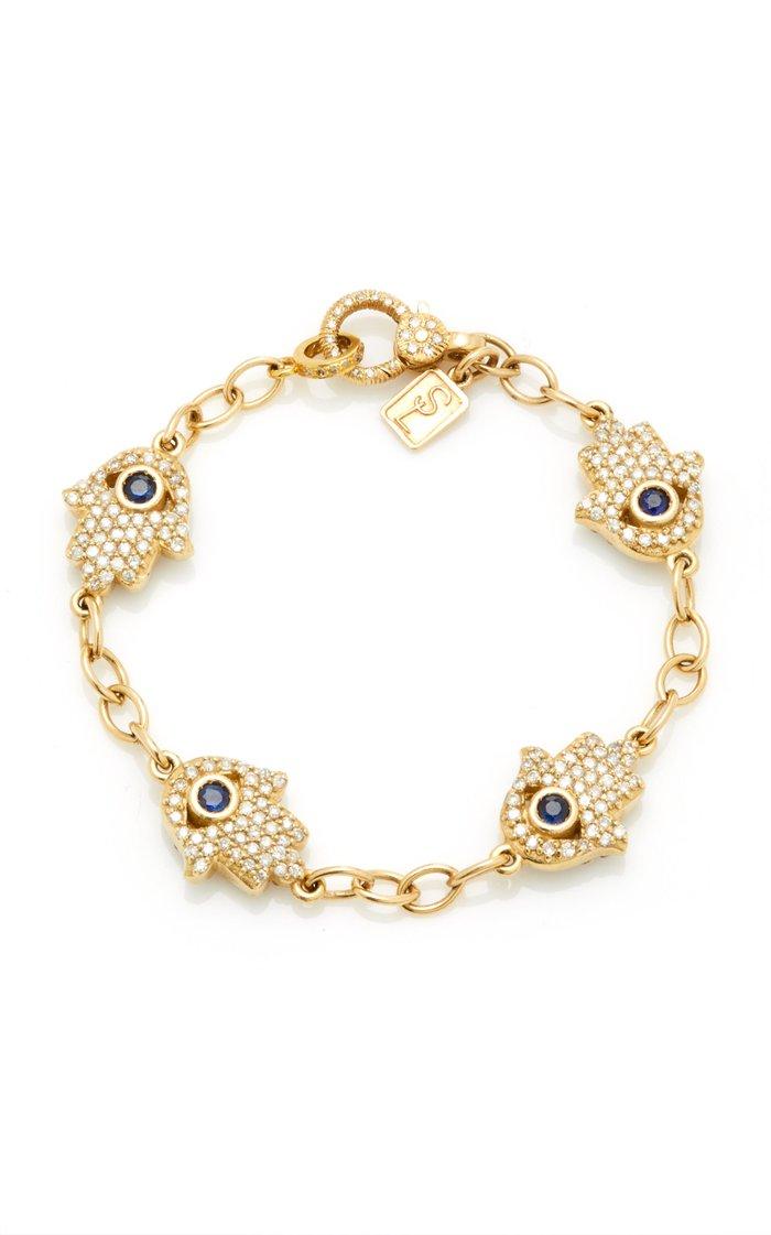 14K Yellow Gold Hamsa And Sapphire Link Chain Bracelet