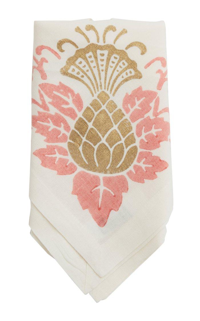 Set-of-Four Printed Linen Napkins