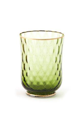 Set-of-Two Balloton Green Gold-Rim Drinking Glass