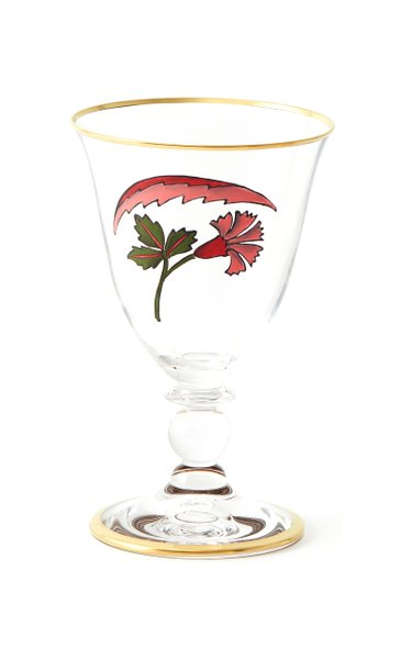 Lisa Painted Gold-Trim Red Wine Glass