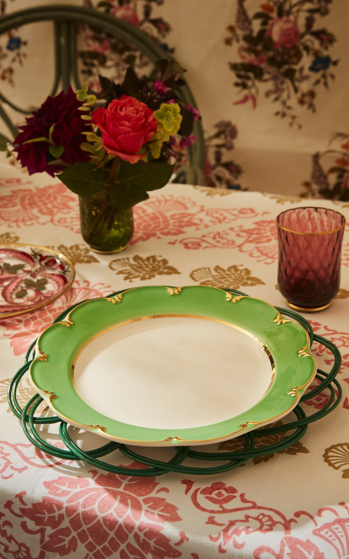 Set-of-Two Green Wicker Placemat