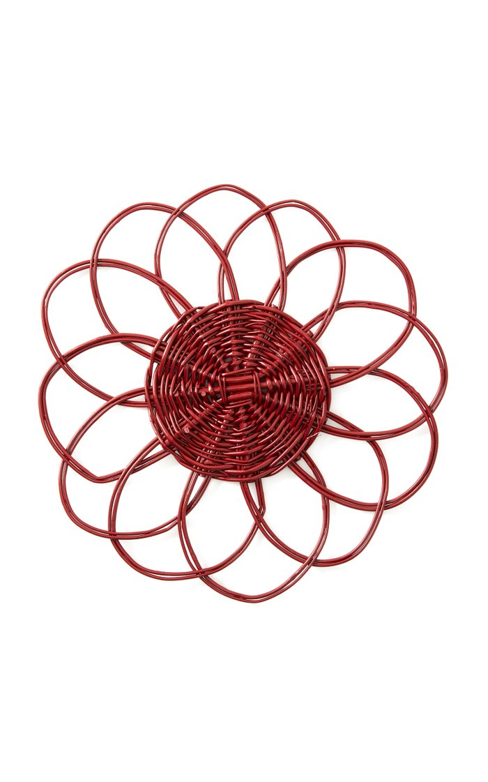 Set-of-Two Red Wicker Placemat