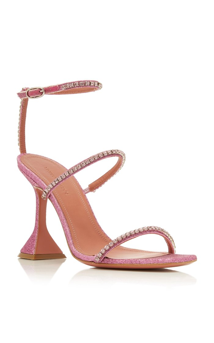 Gilda Crystal-Embellished Leather Sandals