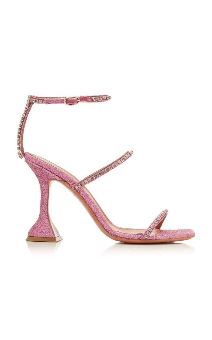 Gilda Crystal-Embellished Leather Sandals