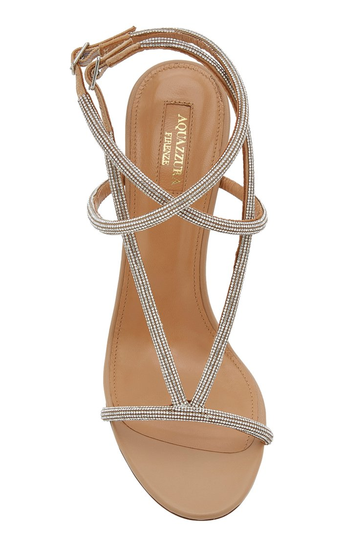Moondust Crystal-Embellished Leather Sandals
