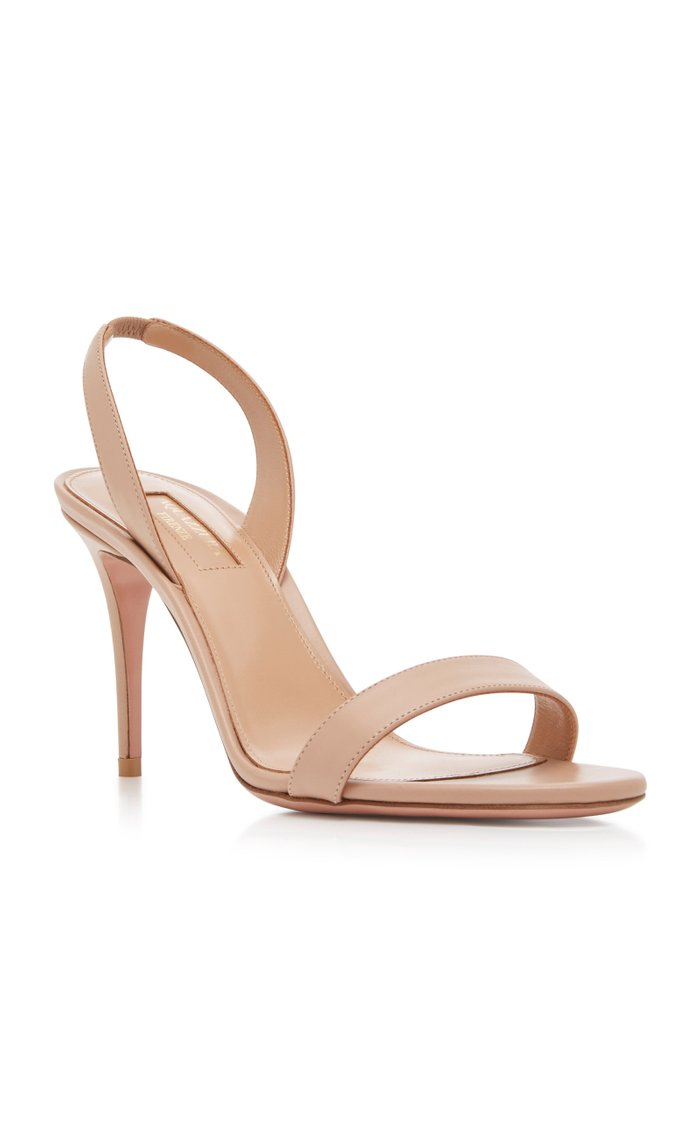 So Nude Leather Sandals