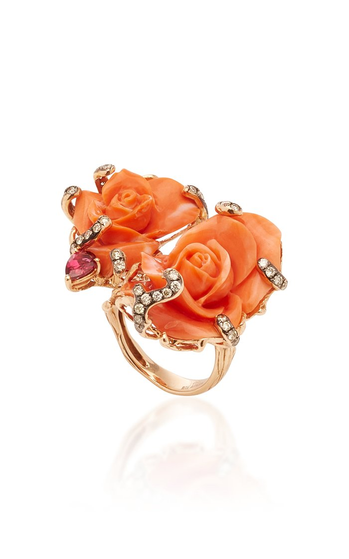 Fancy Diamond And Coral Ring