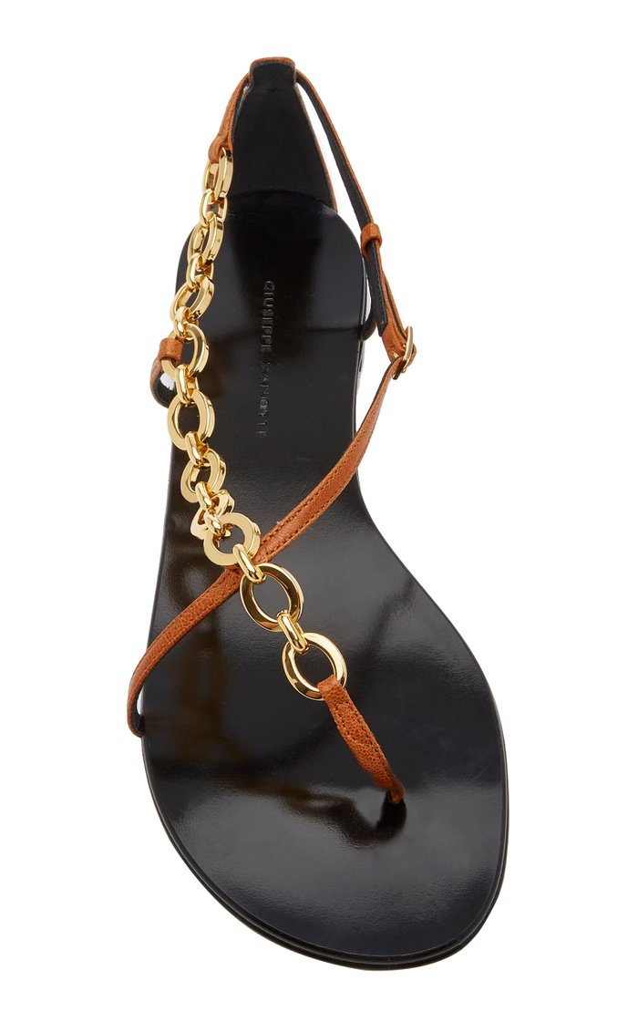Chain-Embellished Leather Sandals