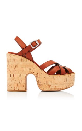 Leather Cork Platform Sandals