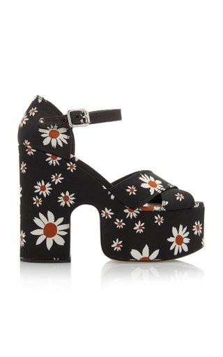Floral-Print Gabardine Platform Sandals