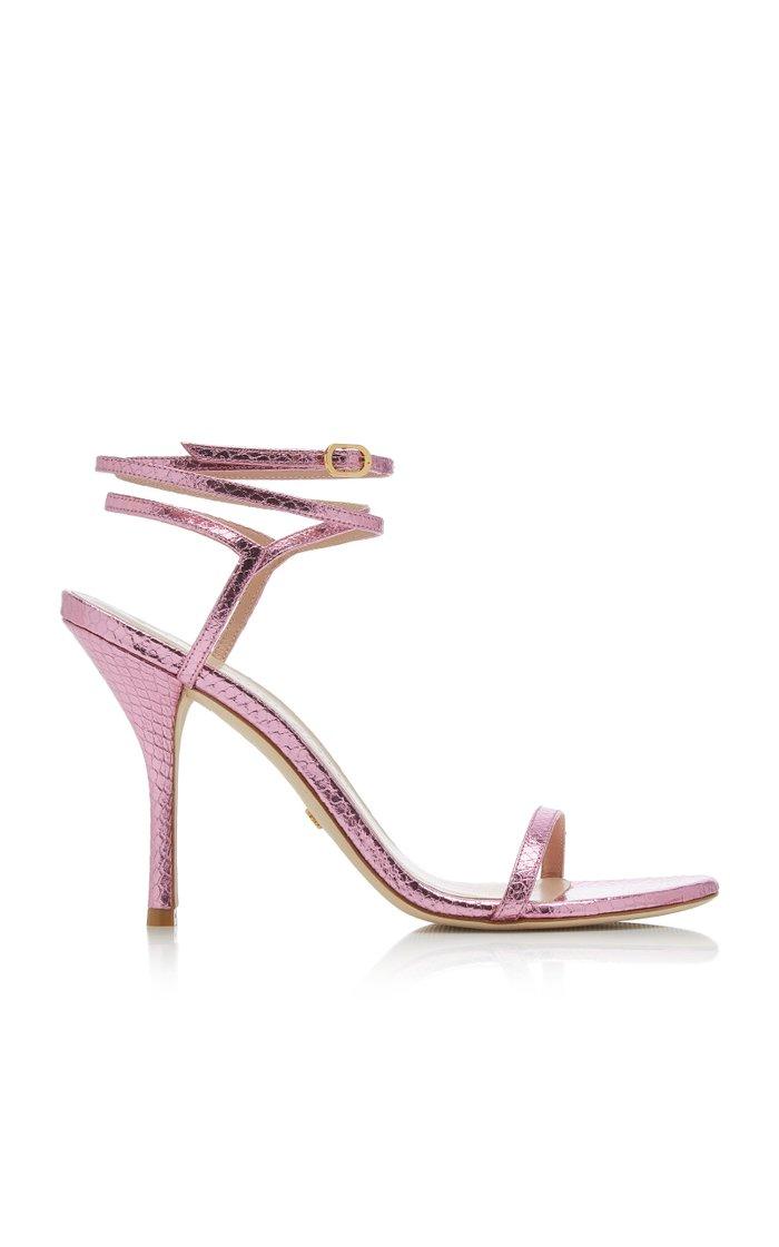 Merinda Metallic Snake-Effect Leather Sandals