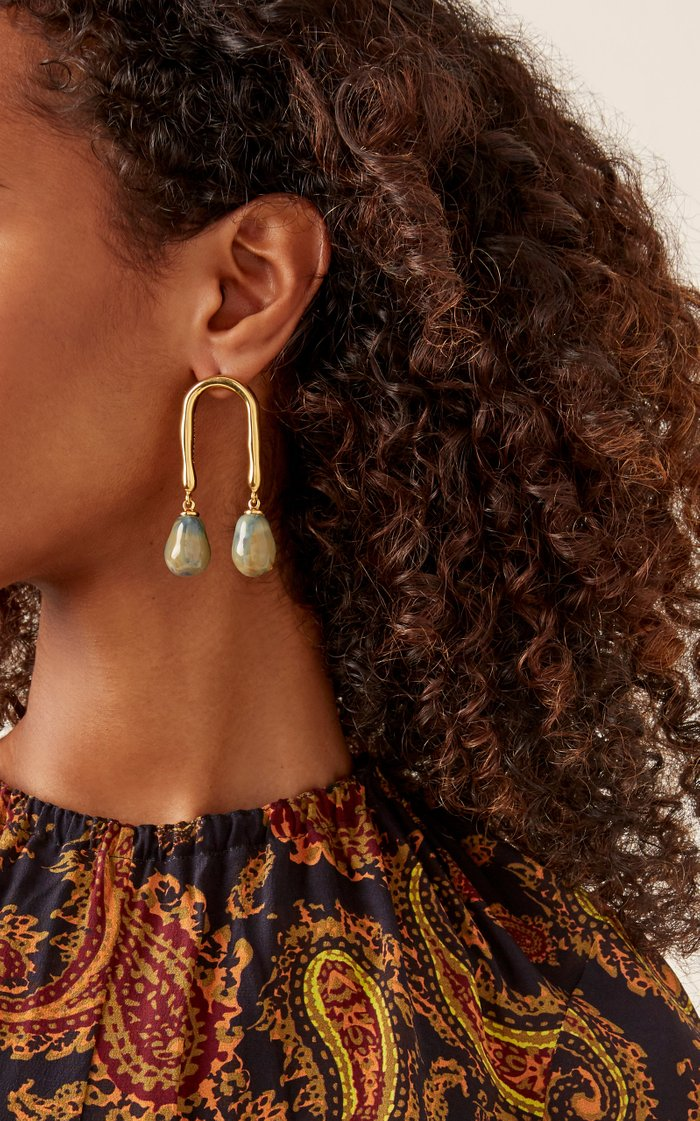 Horseshoe 18K Gold-Plated And Porcelain Earrings