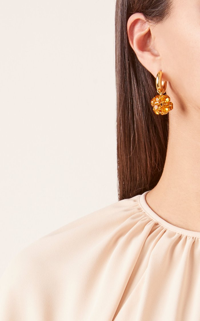 Gold-Plated, Crystal And Mother-Of-Pearl Hoop Earrings
