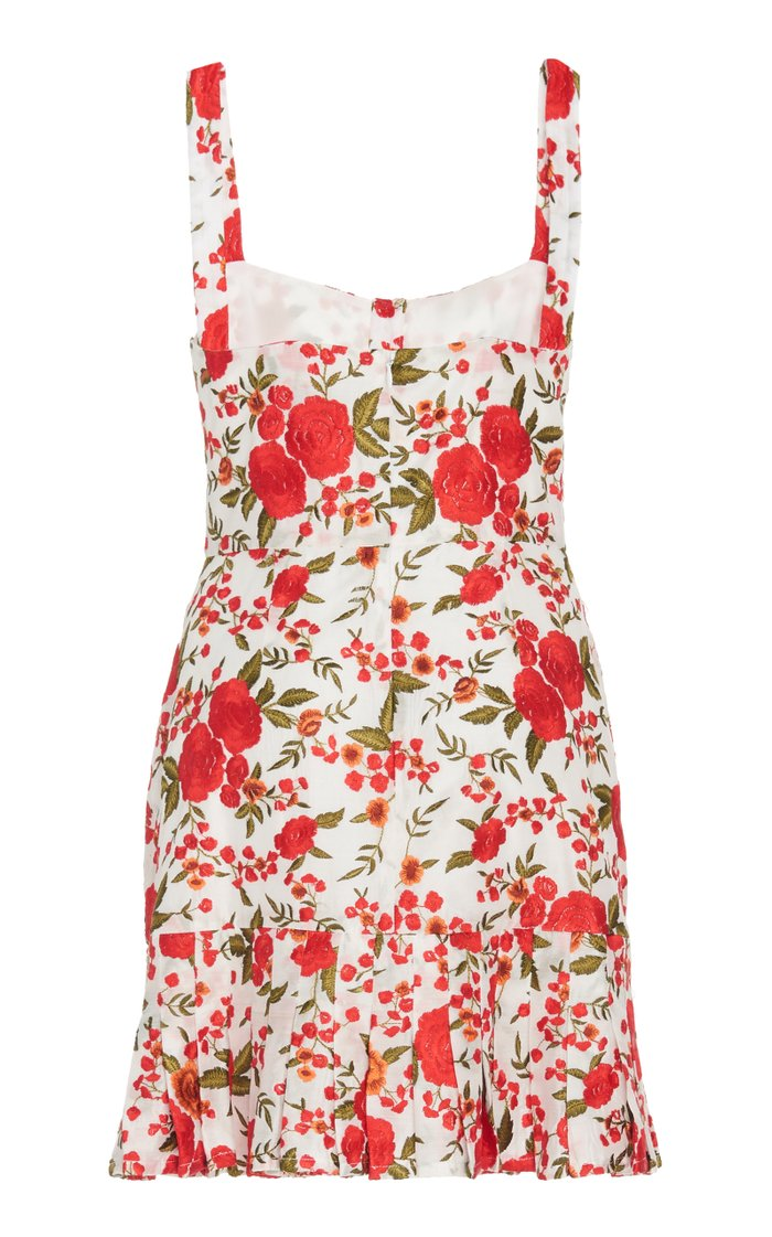 Melora Floral-Embroidered Mini Dress