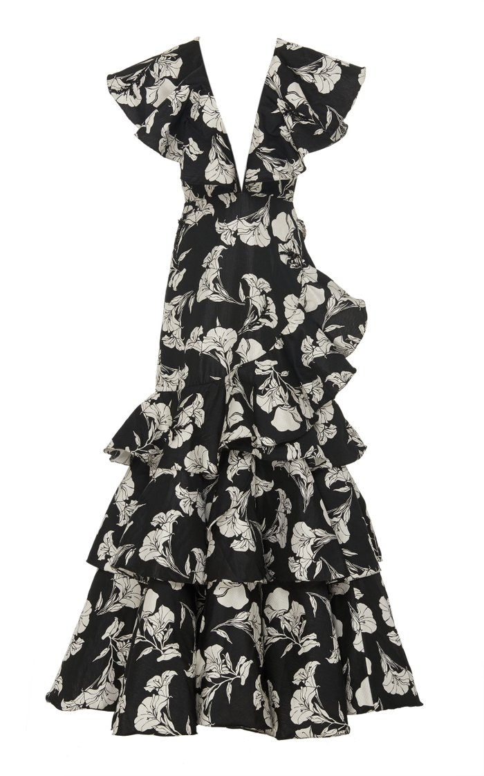 Exclusive Exquisite Pattern Embellished Gown