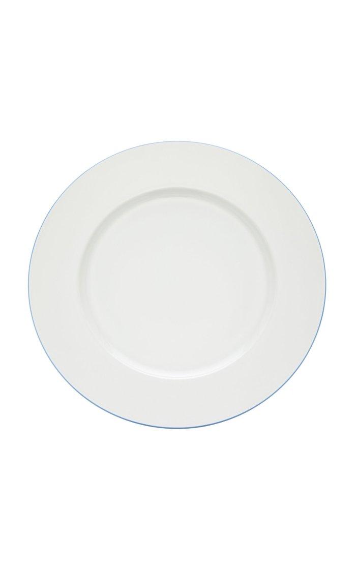 Dinner plate with light blue rim