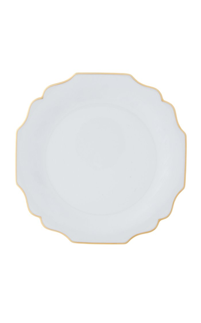 White Belvedere dinner plate with 24K gold rim