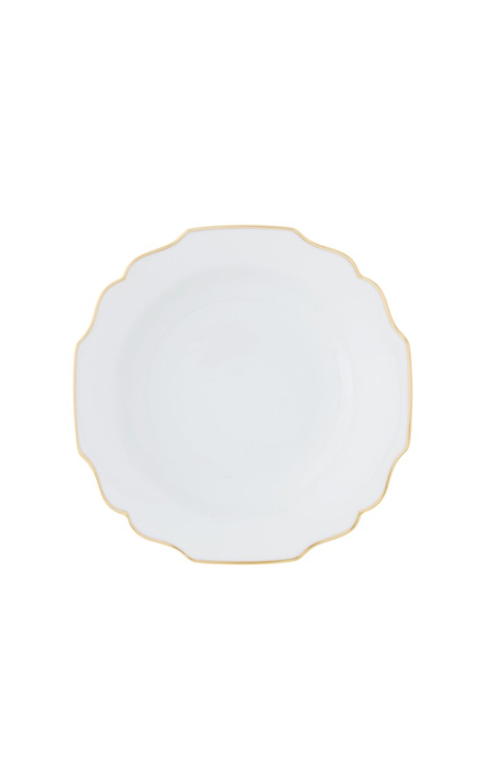 White Belvedere salad plate with 24K gold rim