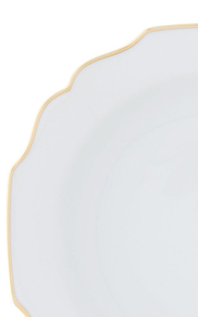 White Belvedere dessert plate with 24K gold rim