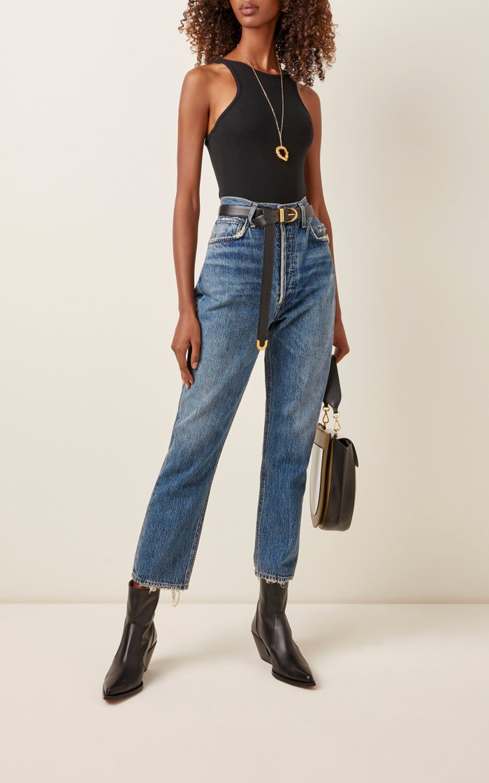 Riley Cropped High-Rise Straight-Leg Jeans