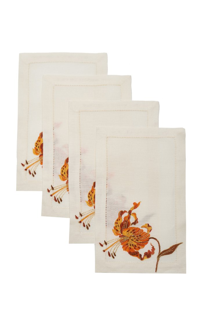 Set Of 4 Orchid Savage   Cocktail  Napkin